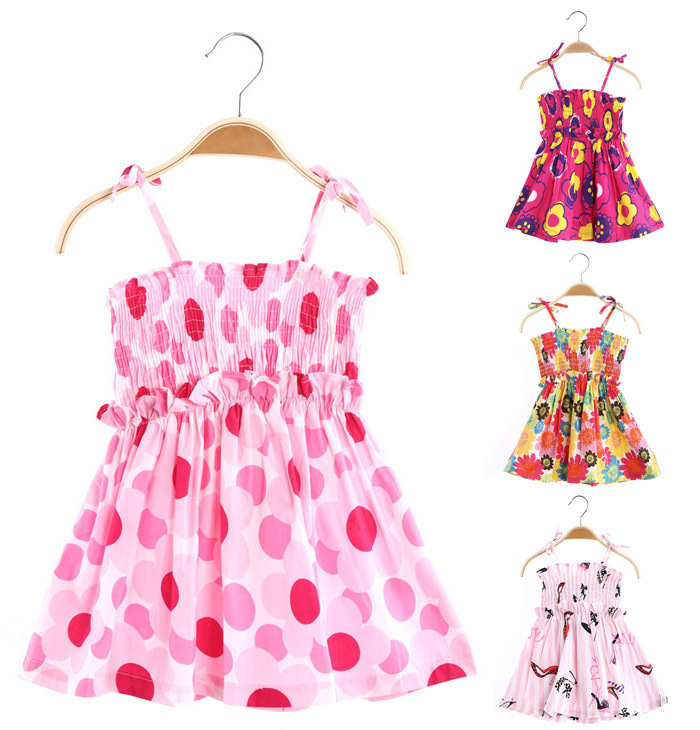 Wholesale spring new 2015 baby kids children grils summer gown gift dresses College sport vintage Condole belt beach dress 1018#(China (Mainland))