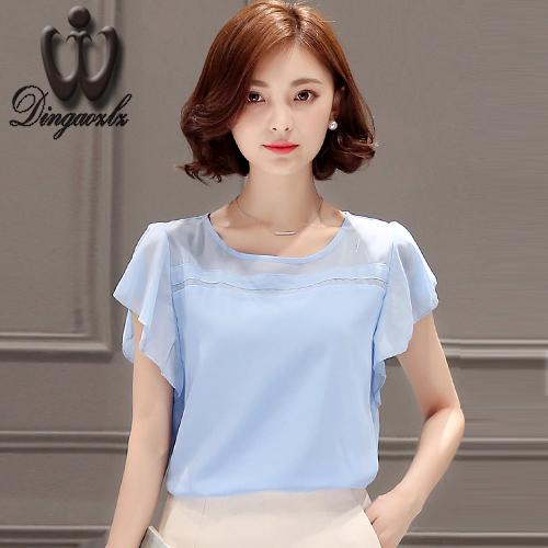 2016 summer new Korean Women lotus sleeve chiffon blouse casual lady short-sleeve chiffon shirt women clothing(China (Mainland))