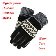 New Fashion Pigskin Gloves Warm Man Frosted Design Warm Winter Gloves Free Shipping(China (Mainland))