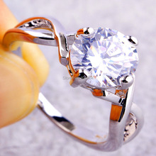 Free Shipping Wholesale Round Cut White Topaz 925 Silver Ring Size 6 7 8 9 10