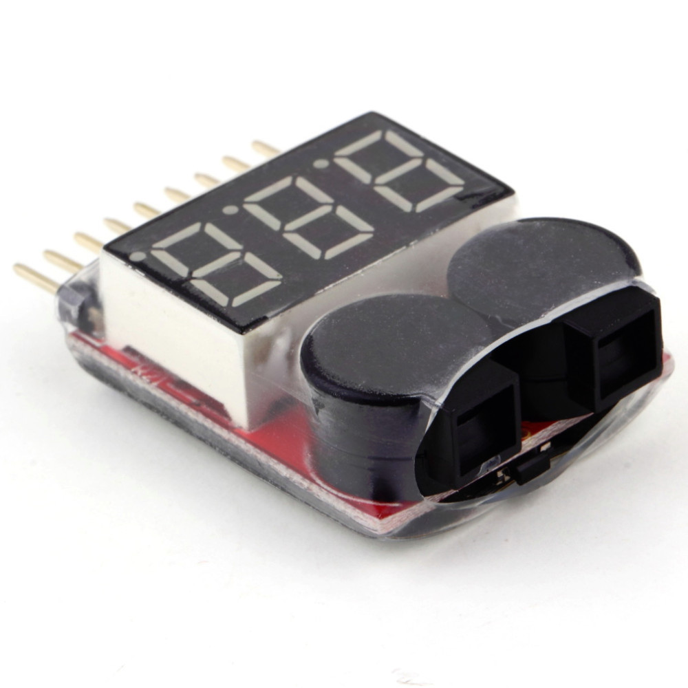 image for 1-8S Lipo/Li-ion/Fe Battery Voltage 2IN1 Tester Low Voltage Buzzer Ala