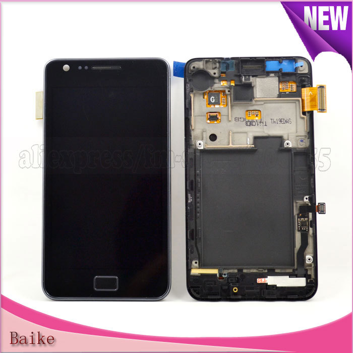 I9100 Lcd display touch screen digitizer with frame assembly For Samsung Galaxy s2 Lcd Black / white DHL Free shipping(China (Mainland))