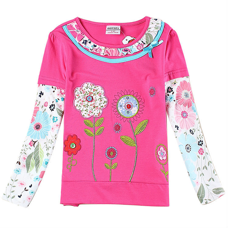 Nova kids girl t shirt for girl clothes cheap girl t shirt with long sleeve girls top nova brand new 2015 with bow(China (Mainland))