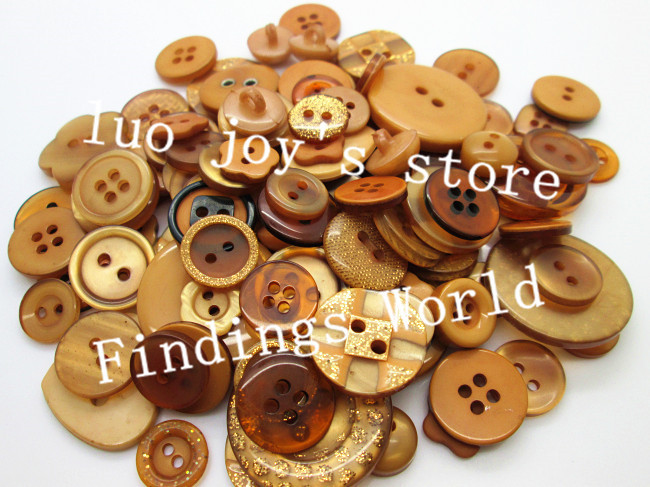 Free Shipping 100Pcs Random Mixed Light Coffee Assort Buttons Resin Sewing Buttons Flatback Scrapbooking Knopf Bouton Appliques(China (Mainland))