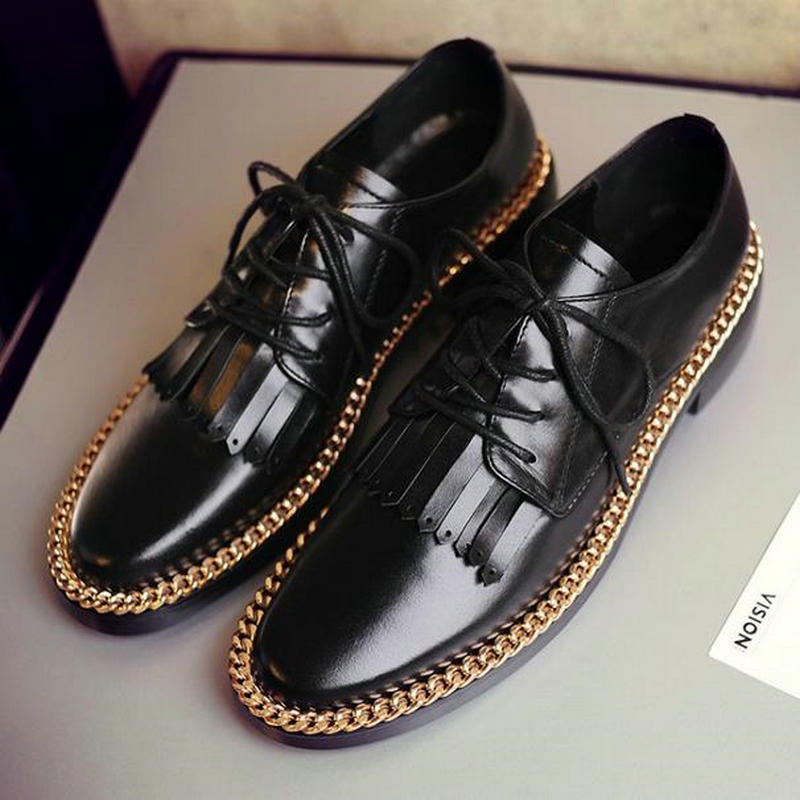 British style metal chain low-heeled lacing genuine leather single shoes round toe tassel womens shoes  oxfords shoes for women<br><br>Aliexpress