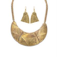 Этническая напыщенные pattern африки vintage ювелирные наборы Горячая новая мода античное золото серебро заявление женщины ожерелье серьги(China (Mainland))