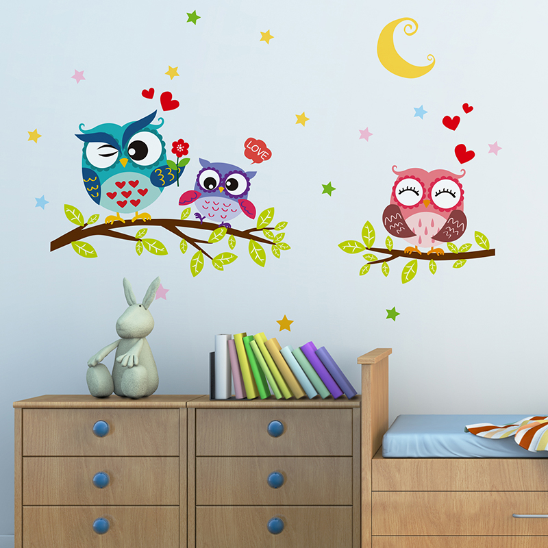 Creative snowy night owl wall stickers waterproof diy for Poster decoration murale