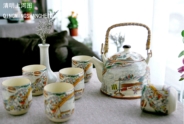 New 7pcs set Ceramics large tea set gift tea pot 900ML six cup porcelain tea set