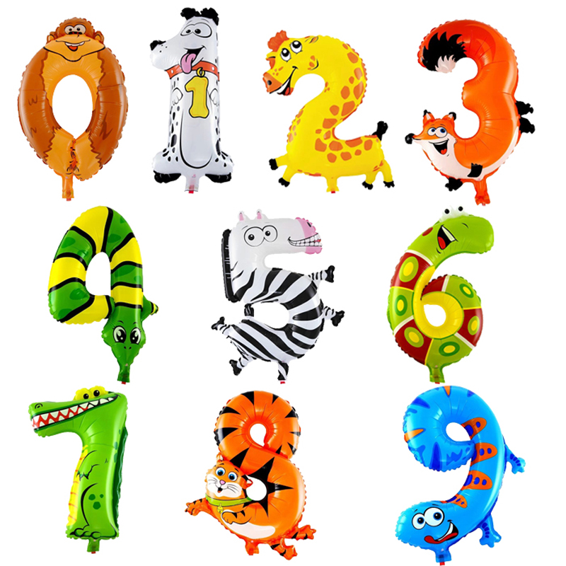 10 Pcs Animal Number Foil Inflatable Balloons Wedding Happy Birthday Decoration Air Balloons Party Balloon Children's Gifts(China (Mainland))