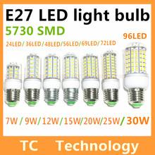 Bombillas led e27 smd 5730 lámparas led-licht g9 3w 7w 9w 12w 15w 20w 25w lampada e14 led-lampe e27 220v ampulle kerze luz(China (Mainland))