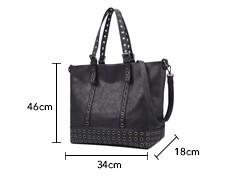 Edgy Rivet Occident Style Women Tote Bag High-volume Casual Handbag Simple Black PU Shoulder Bag Designer Stylish Lady Large Bag