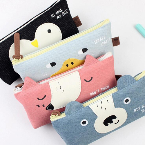 Funny animal series pencil bag Jean material pen & pencil case Office zakka papelaria school supplies (tt-2397)(China (Mainland))
