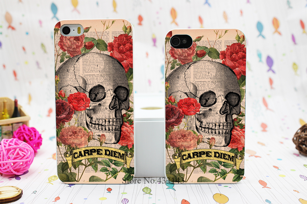 Ultimate Thin Sugar Skull Art Carpe Diem Style Hard White Skin Case Cover for iPhone 5 5s 5g(China (Mainland))
