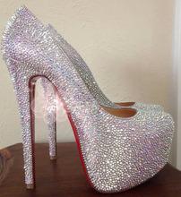 Free shipping white silver rhinestone 160mm high heel 5cm hidden platform woman's lady female wedding party pump shoes big size(China (Mainland))