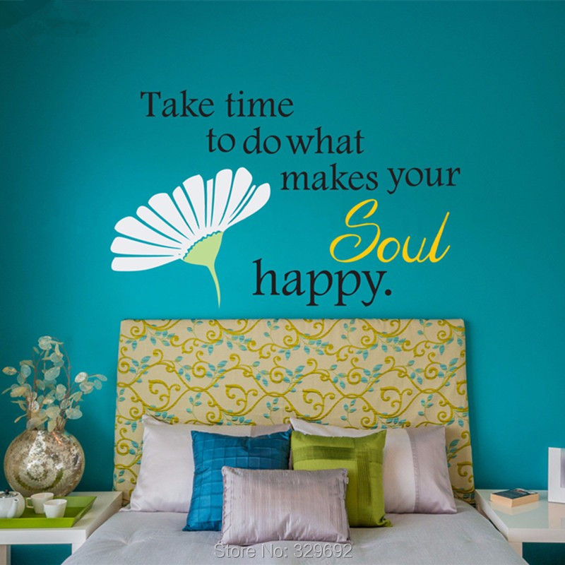Daisy Quote Wall Decal - Fresh Flowers Wall Stickers Home Decor - Simple Decorative Wall Art Mural - Living Room Wall Decoration(China (Mainland))