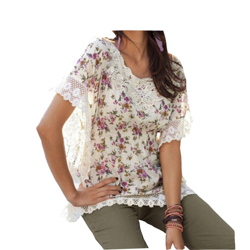 European 2015 Summer Style Women Blouse Flower Floral Lace Crochet Shirt Top O Neck Batwing Sleeve Casual blusas Plus Size S-3XL(China (Mainland))