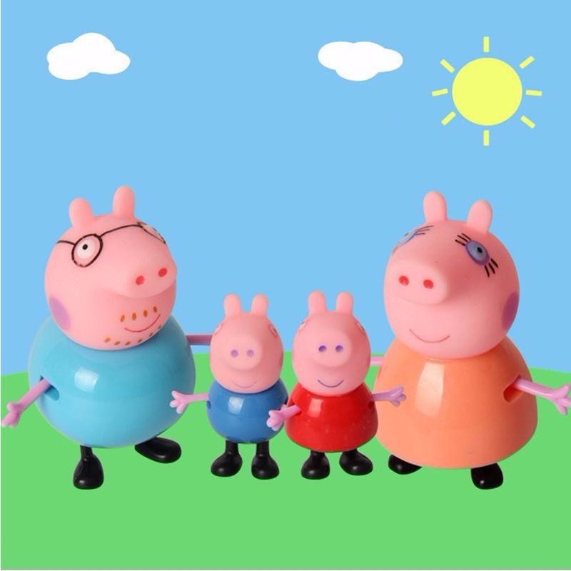 4pcs/set plastic pig toys PVC Action Figures Family Member pig Toy Juguetes Baby Kid Birthday Gift brinquedo(China (Mainland))