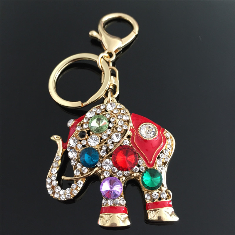 2015  Rhinestone Animal Elephant Keychain Zinc Alloy Key Chains Car Accessories Women Key rings<br><br>Aliexpress