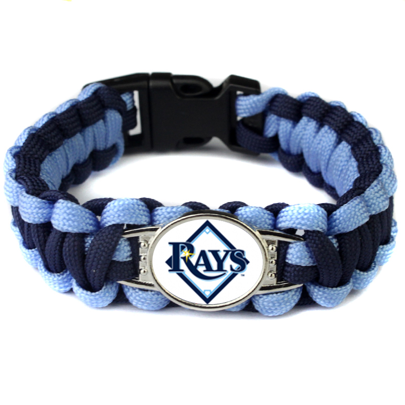 Mix 19 Color Can Choose MLB Paracord Bracelet Tampa Bay Rays Baseball Charm Bracelet Survival Bangle For Outdoor Sport Fans(China (Mainland))