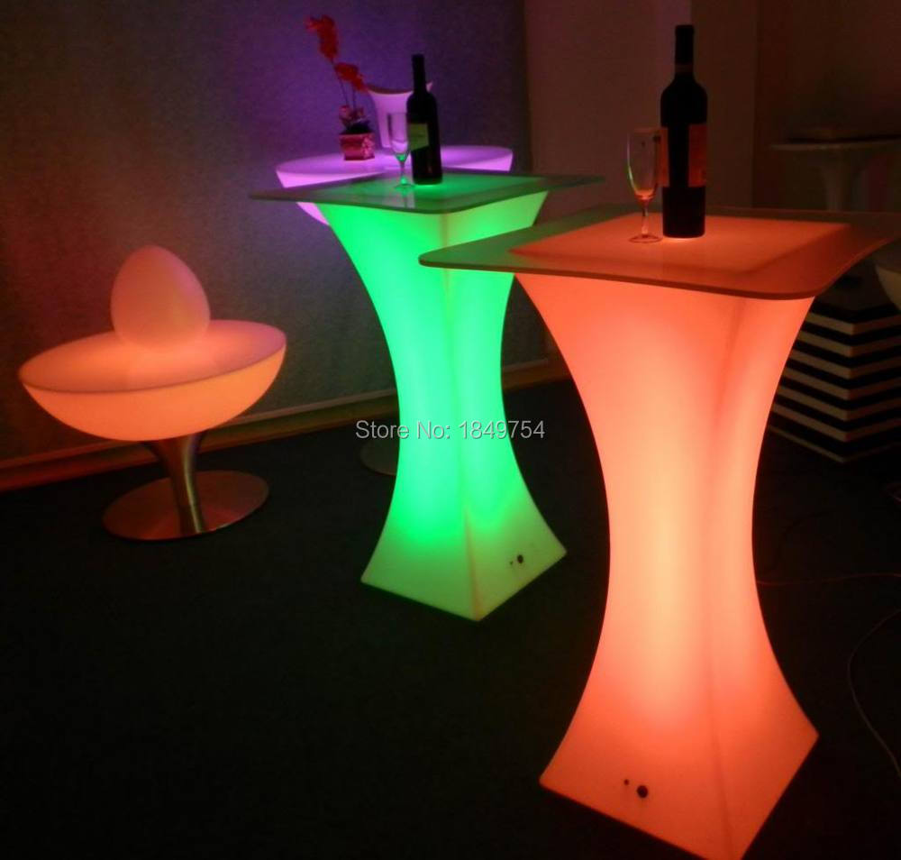 explosion models D60 * H110 Colorful LED Square Cocktail Table for coffee station / Party / Hotel / Bar Coffee table LED Small(China (Mainland))
