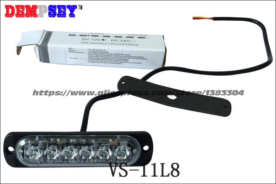 """Купить VS-11L8 СВЕТОДИОДНЫЕ Огни Гриль, 0.3 """"экстра-тонкий, 22 флэш-шаблон, 6*3 Вт LED, 12 В, СВЕТОДИОД для поверхностного монтажа Strobe Предупреждение Мигает Свет"""