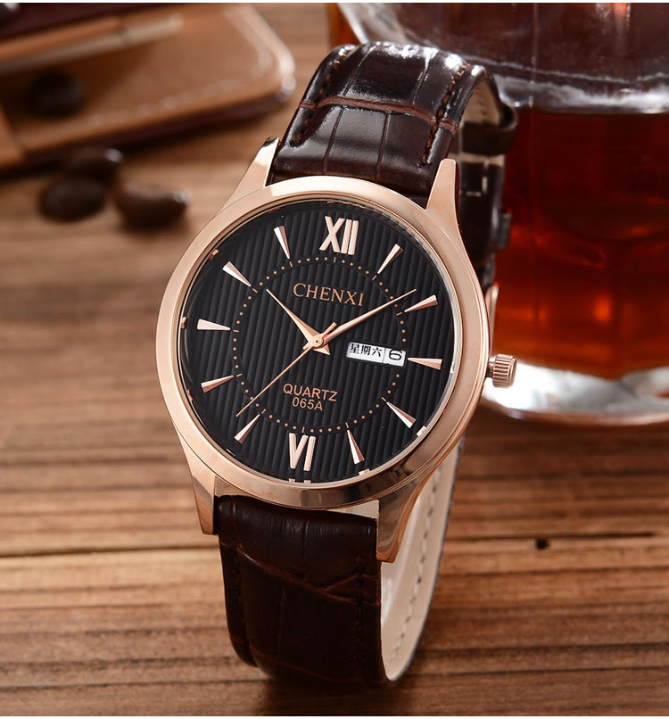 Genuine Leather Gold Dress Watch Men Waterproof Roman Numeral Analog Quartz Watches for man 2015 New Fashion Casual Wristwatch(China (Mainland))
