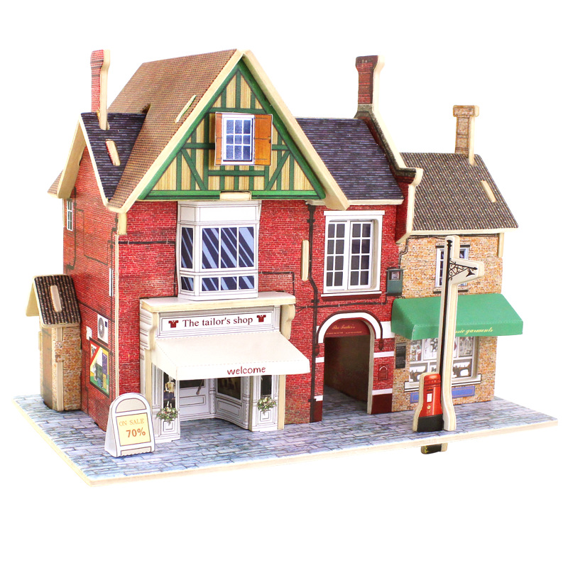 Free Shipping Kids Diy Wood 3d House Puzzle Model