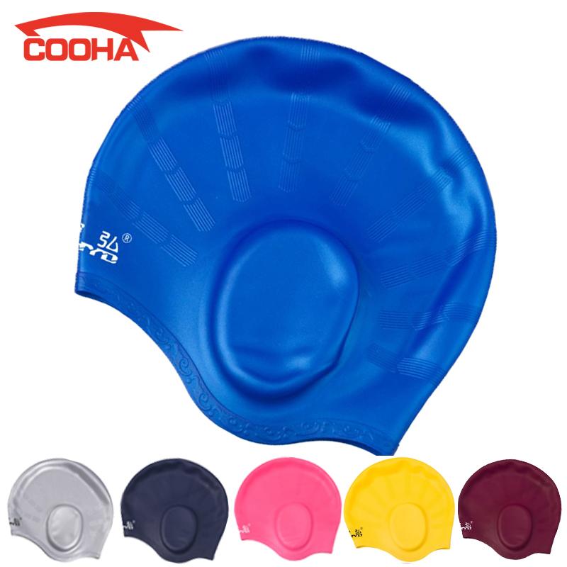 Professional Waterproof Adult Unisex Silica Gel Ear Protection Swimming Cap Men Women Silicone Swim Cap Pool Hat Ear Protectors(China (Mainland))