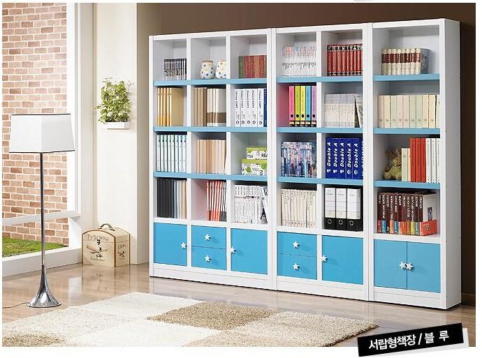 A blue multifunctional bookcase bookshelf free combination of big lockers IKEA locker(China (Mainland))