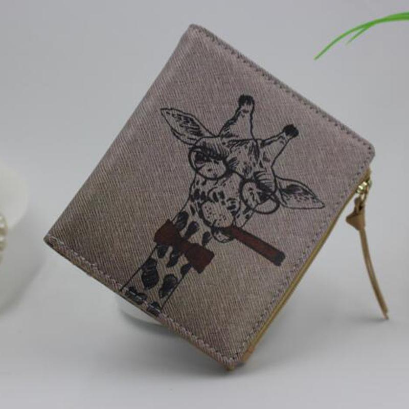 Vintage women purses cartoon Print casual women Wallets short girl Cute wallet Zebra Carteira Feminina Clutch coin purse XD2883(China (Mainland))
