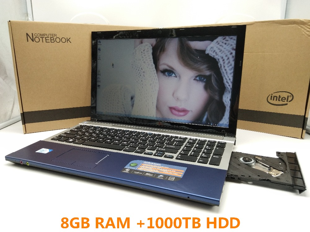 15.6 Inch PC Computer Windows 7/8 With DVD-RW 8GB +1TB HDD Laptop Qual Core Atom 1.99GHz Wifi notebook netbook Free Shipping(China (Mainland))