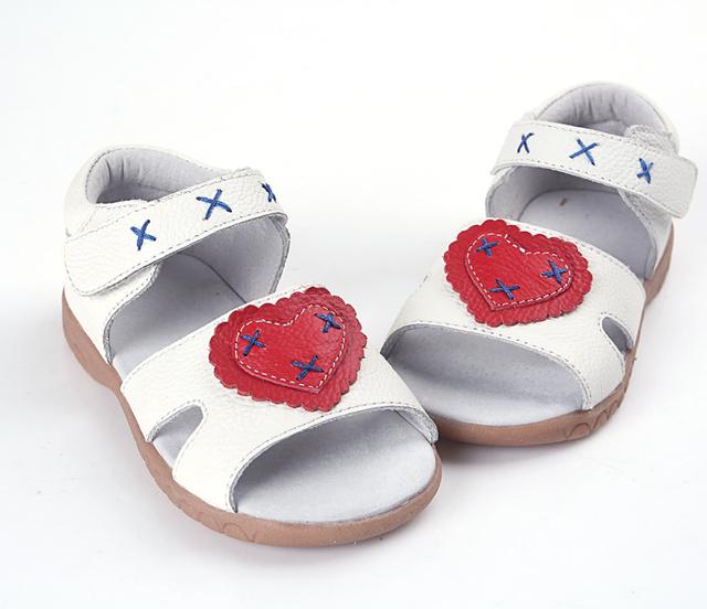 Девушки сандалии натуральная кожа детские ботинки ходока розовый белый открытым носком ...