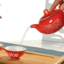 Chinese Red Kung Fu Tea Set Ultra Thin Exquisite Teaset Bone China TeaPot Ceramic Tea Cup
