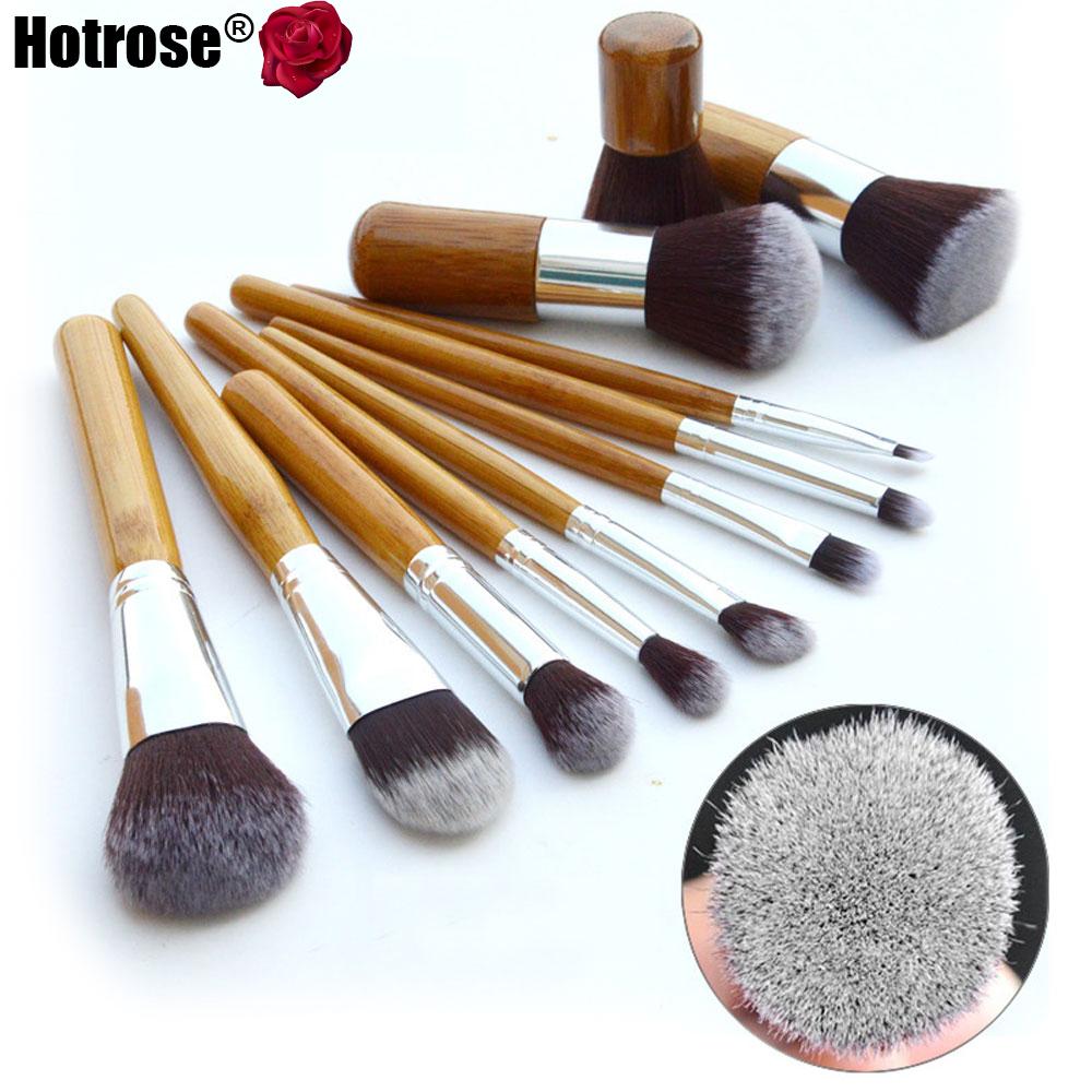 11Pcs Makeup Brushes Synthetic Professional Natural Bamboo Cosmetics Foundation Eyeshadow Blush Makeup Brush Set Kit Pouch(China (Mainland))