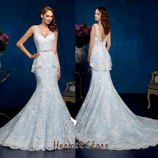 Zm0009 light sky blue wedding dresses mermaid cut guipure for Light blue lace wedding dress
