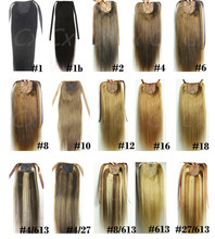 "28 colors available 16""-32""60g 80g 100g 120g140g  brazilian remy human hair extensions horstail ponytail human hair  clips in()"