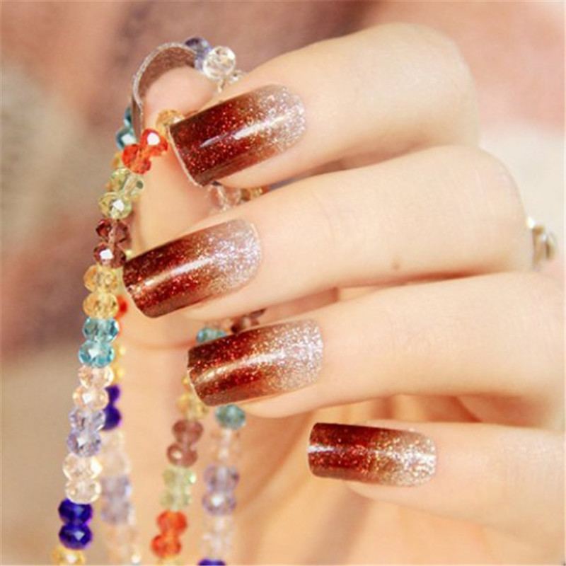 New Style Glitter Powder Gradient Color Full Cover Nail Art Sticker Manicure Tips One Piece Simple Nail Decals Beauty Decoration(China (Mainland))