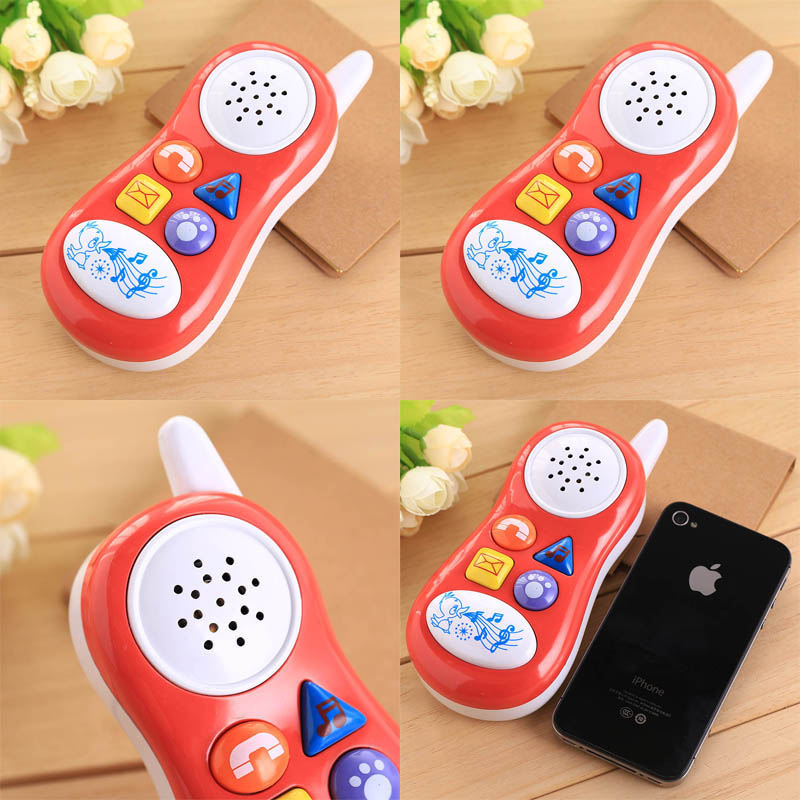 new button cartoon music talking sound Educational Toy Gift funny Baby kids Cell Phone random colors(China (Mainland))