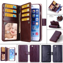 USA New Leather Mutil-Function Wallet Case For iPhone 6 5 5S & For iPhone 6 Plus With Card Slots Flip Case Low Price Clearance(China (Mainland))