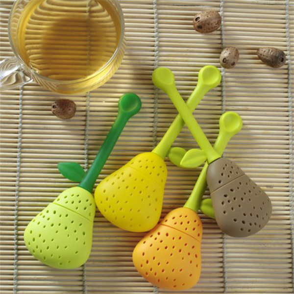 1pcs sales promotipreferential Special offer Pear Tea Bags Strainer comfortable TeaSmall spoon Filter te Infuser Silica Gel Fil(China (Mainland))