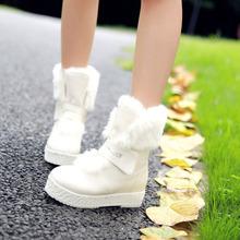 Mujeres de moda de la felpa rejilla ocultos plataformas nieve tacones altos botines de plataforma plana Warm Winter botas de nieve zapatos de mujer(China (Mainland))