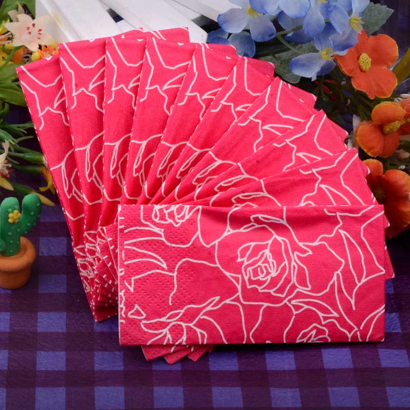 5packs Abstract Red Rose Flower Romantic Handy Pocket Napkin Paper toilet tissue coffee hotel wedding party decoration supplies(China (Mainland))
