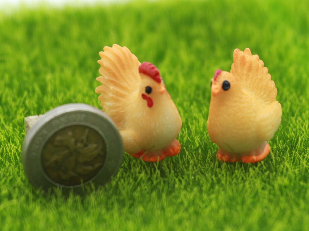 50pair/100pcs Mini Animals Resin Craft Chicken Combination Bonsai Figurines Fairy Garden Miniatures Ornaments Garden Decorations(China (Mainland))