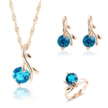 African Jewelry Sets Necklaces Set 18k Gold Plated Necklace Earring Ring Sapphire Crystal Nigerian Women Wedding Accessories(China (Mainland))