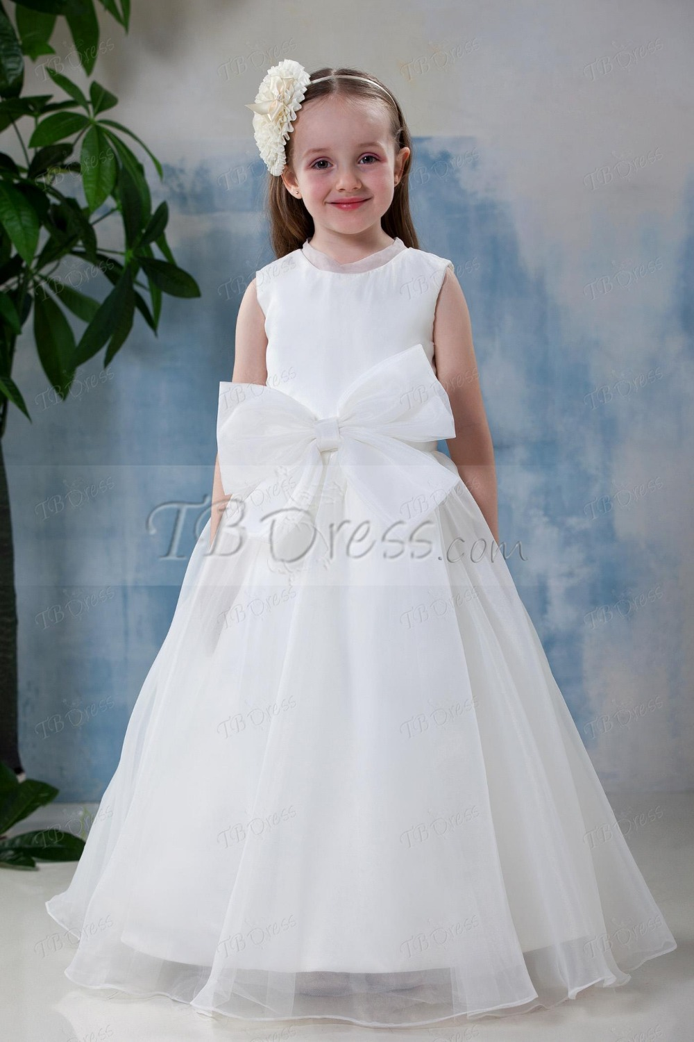 Pretty Satin With Lace Sleeveless With A Bow Princess Floor-Length Flower Girl Dress<br><br>Aliexpress