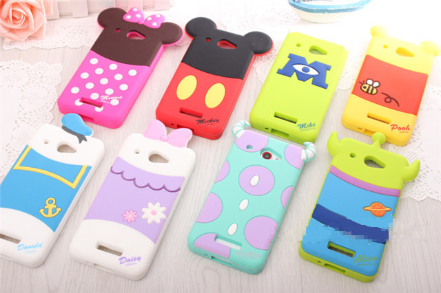 3D Minnie Mickey Donald Sully Cartoon Back Case For HTC Butterfly X920e/X920d Mobile Phone Silicone Cover for HTC Droid DNA(China (Mainland))