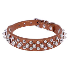 Chic Pet Dog Rivet Collar Spiked Studded Strap Collar Buckle Neck PU Leather Pet roducts Free Shipping(China (Mainland))