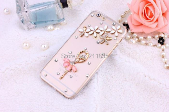 Handmade Rhinestone Jewelry Diamond Transparent Ballet Girl Peacock Flower Case For Samsung Galaxy S3 i9300 Simple Cover(China (Mainland))