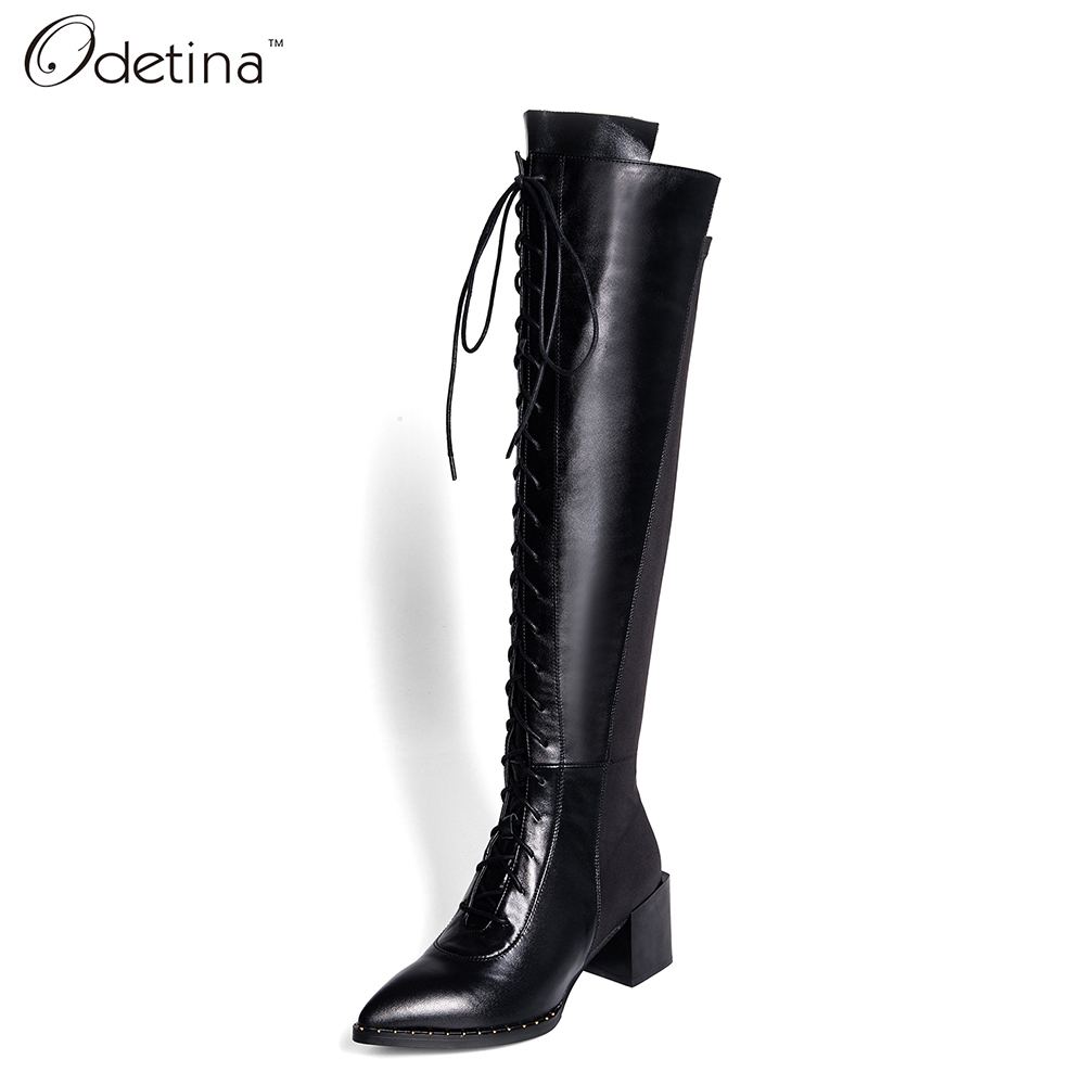 Фотография Odetina 2016 Handmand Winter Large Size Genuine Leather Over The Knee Boots for Women High Top Black Lace Up Chunky Heel Boots