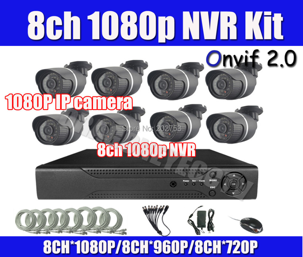 1080p NVR System Onvif 8ch 1080p NVR 8pcs 1080P Outdoor IP Camera NVR Kit HDMI Output P2P Cloud PC&Mobile View Easy Visit(China (Mainland))